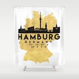 HAMBURG GERMANY SILHOUETTE SKYLINE MAP ART Shower Curtain