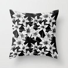 White lilies on a black background . Throw Pillow