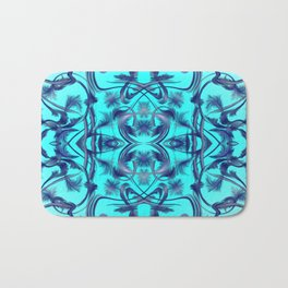blue Digital pattern with circles and fractals artfully colored design for house and fashion unique Bath Mat