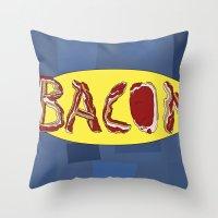 bacon Throw Pillows featuring Bacon by creativecurran