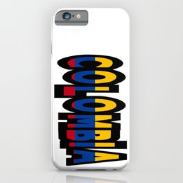 Colombia Font With Colombian Flag iPhone Case