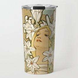 The FLOWERS - LILY Alphonse Mucha Travel Mug