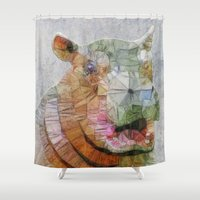 hippo Shower Curtains featuring abstract hippo by Ancello