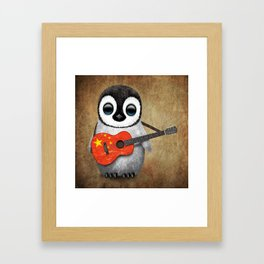 Baby Penguin Playing Chinese Flag Acoustic Guitar Framed Art Print