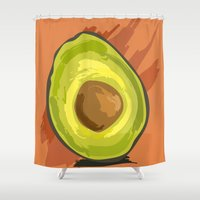 avocado Shower Curtains featuring avocado by P.A. Yingling