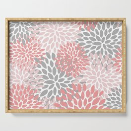 Floral Pattern, Coral Pink and Gray Serving Tray