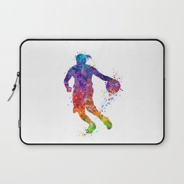 Girl Basketball Player Colorful Watercolor Sports Art Gift Laptop Sleeve