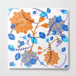 Flying Flowers in white Metal Print