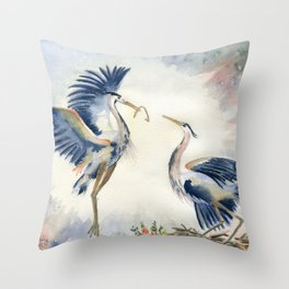 Great Blue Heron Couple Throw Pillow