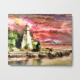 Lighthouse During Sunset Metal Print