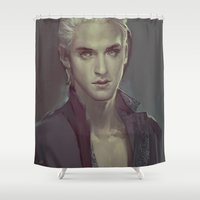 meme Shower Curtains featuring MEME 011 Draco by mushroomtale