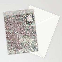 Paris Street Map Stationery Cards