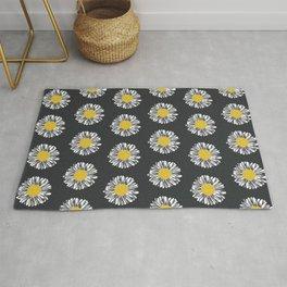 Daisy pattern basic flowers floral blossom botanical print charlotte winter dark color Rug