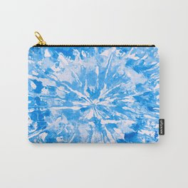 Blue Cobalt Aqua Tie-Dye Colored Pattern Design // Hand Painted Mandala Multi Media Abstract Carry-All Pouch
