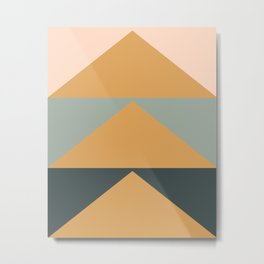 Triangles in Blush, Gray, and Honey Metal Print