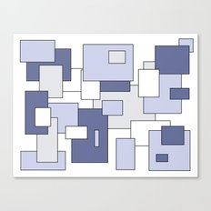 Squares -  gray, blue and white. Canvas Print