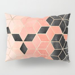 Black And Coral Cubes Pillow Sham