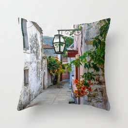 Flower Alley, Crete, Greece Throw Pillow