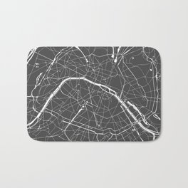 Paris France Minimal Street Map - Grey on White Bath Mat