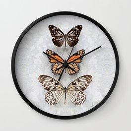 Three Speckled Butterflies Wall Clock
