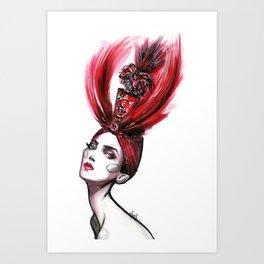 Feather hat Art Print