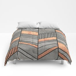 Abstract Chevron Pattern - Concrete and Copper Comforters