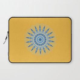 Gold Blue Aztec Mandala Design Laptop Sleeve