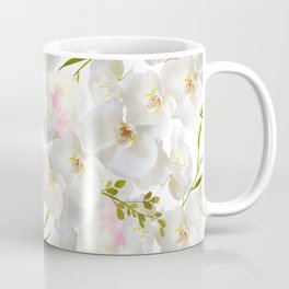Elegant white orchid blush pink watercolor floral Coffee Mug