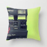 polaroid Throw Pillows featuring Polaroid by Brieana