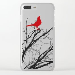 Jaunty Red Bird on Branch A533 Clear iPhone Case