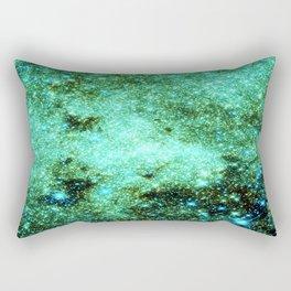 GaLAXY Sparkle Stars : Emerald Green Blue Rectangular Pillow