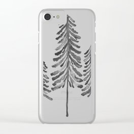Pine Trees – Black Ink Clear iPhone Case