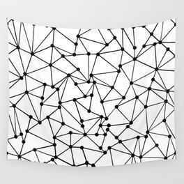 Ab Out Lines With Spots White Wall Tapestry