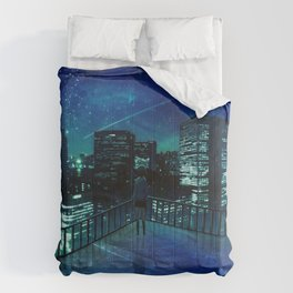 Girl In Skirt Watching Over Wonderful Starry Urban Skyline At Night Cartoon Scenery Ultra Resolution Comforters