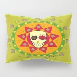 Caveira Étnica Star Red Verde Pillow Sham