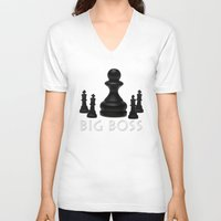boss V-neck T-shirts featuring Big Boss by digital2real