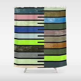 Ladder Color Blocks Complimenting Coral Shower Curtain