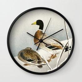 Two ducks in snow - Japanese vintage woodblock print Wall Clock