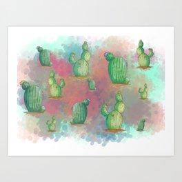 Vibrant Cactus Cloud Art Print