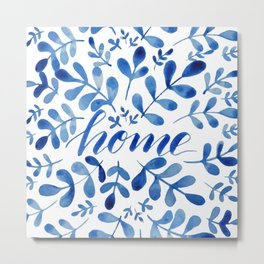 Watercolor home foliage - blue Metal Print