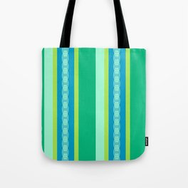 Mid-Century Awning Stripes, Jade Green and Blue Tote Bag