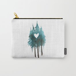 Forest Love - heart cutout watercolor artwork Carry-All Pouch