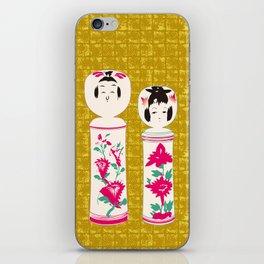 Japanese Kokeshi on Gold-leaf Screen iPhone Skin