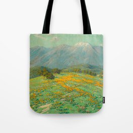 Granville Redmond snow cap spring landscape painting orange flowers green field Tote Bag
