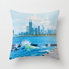City on the Lake Throw Pillow