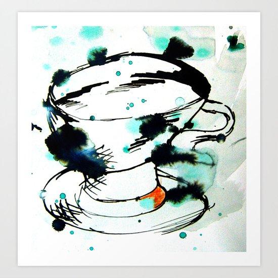 green & black,& a tea cup Art Print