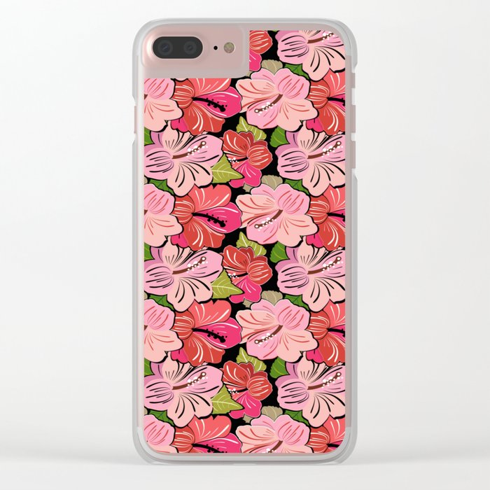 Pink Hibiscus Floral Pattern Clear iPhone Case