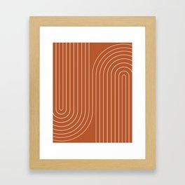Minimal Line Curvature - Coral Red Framed Art Print
