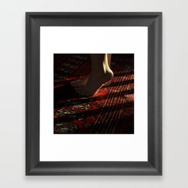 Feet and Red Rug Framed Art Print