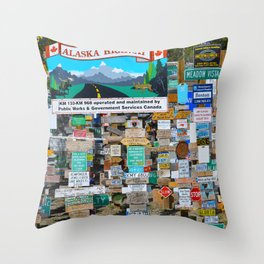 Watson_Lake Sign-Post Forest, YT, Canada Throw Pillow